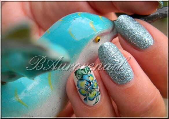 nail art aquarelle sur vernis texturé claire's 9