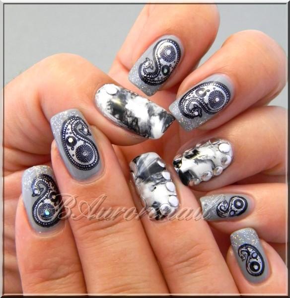 Nail art marbré et stamping cachemire 8
