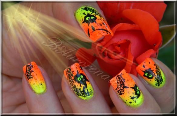 nail art fluo et noir  2