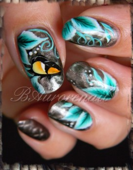 nail art magnetique et one stroke serpent 6