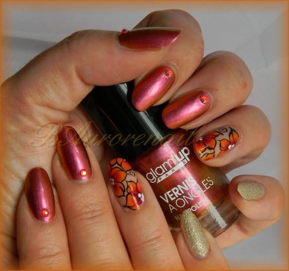 nail art vernis cameleon et fleur one stroke 2