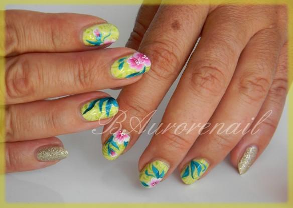 fleurette one stroke sur fond stampé 2
